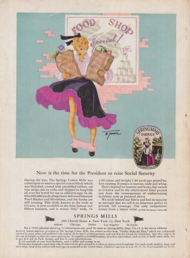 Now is the time to raise Social Security: Springmaid pin-up panties down ad 1950
