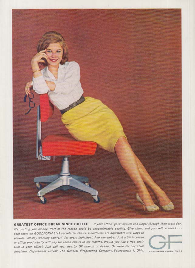 Image for Greatest Office Break Since Coffee: Goodform Secretary's Chair ad 1963 pretty