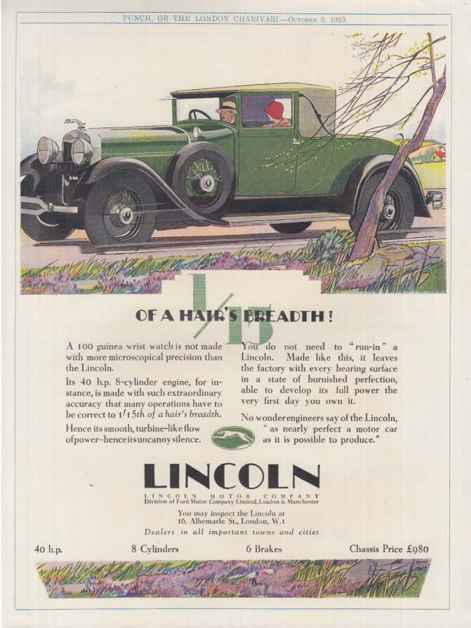 1/15 of a hair's breadth! Lincoln Cabriolet ad 1929 1930 UK