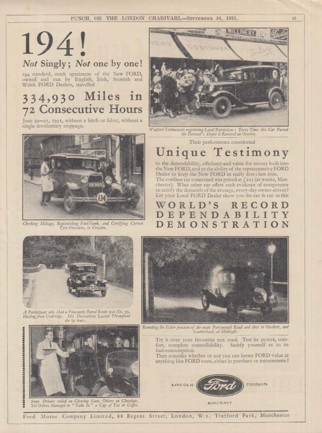 194! Not singly Not one by one Ford Model A 334,930 miles in 72 hours ad 1931 UK