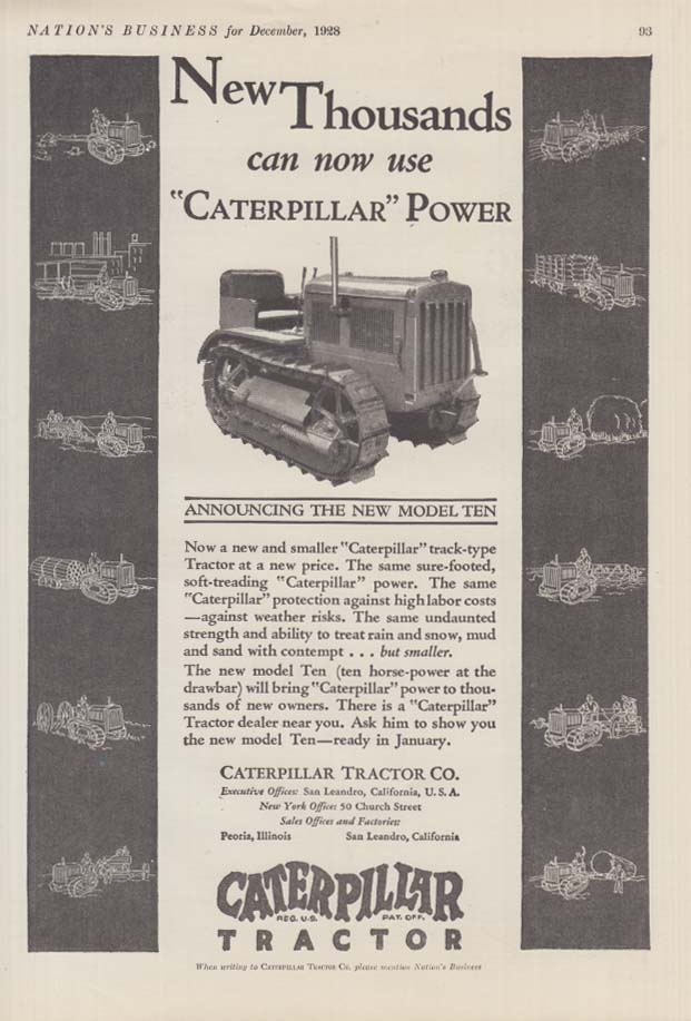 Image for Thousands can now use Caterpillar Power tractor ad 1928