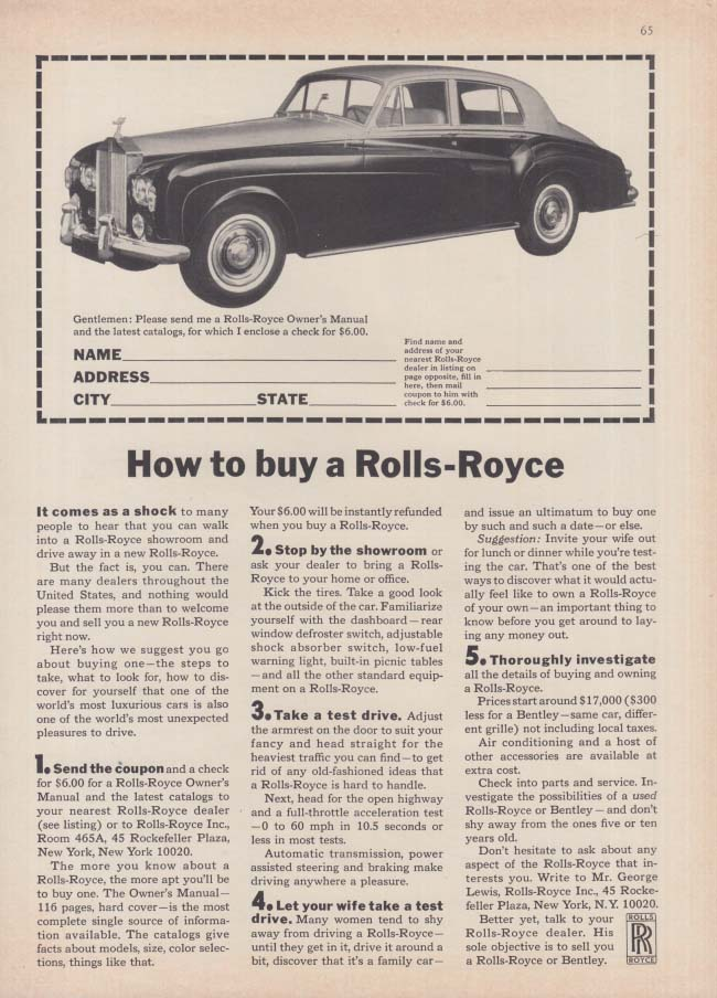 Image for How to buy a Rolls-Royce 1 2 3 4 5 ad 1965 NY