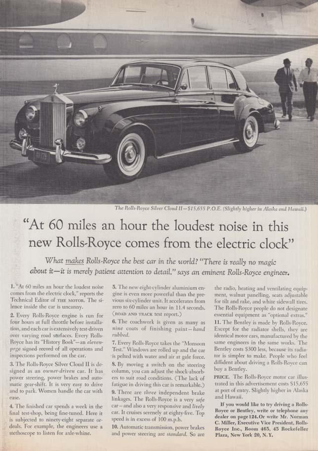 At 60 miles an hour the loudest noise in this Rolls-Royce ad 1961 NY 1962