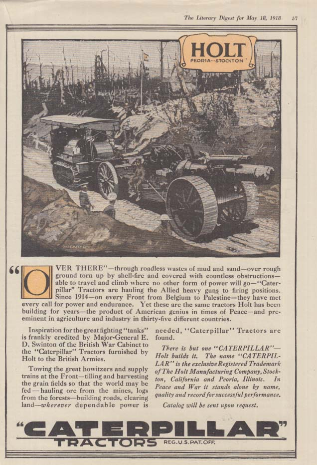 Image for Through roadless wastes of mud & sand Caterpillar Tractors World War I ad 1918