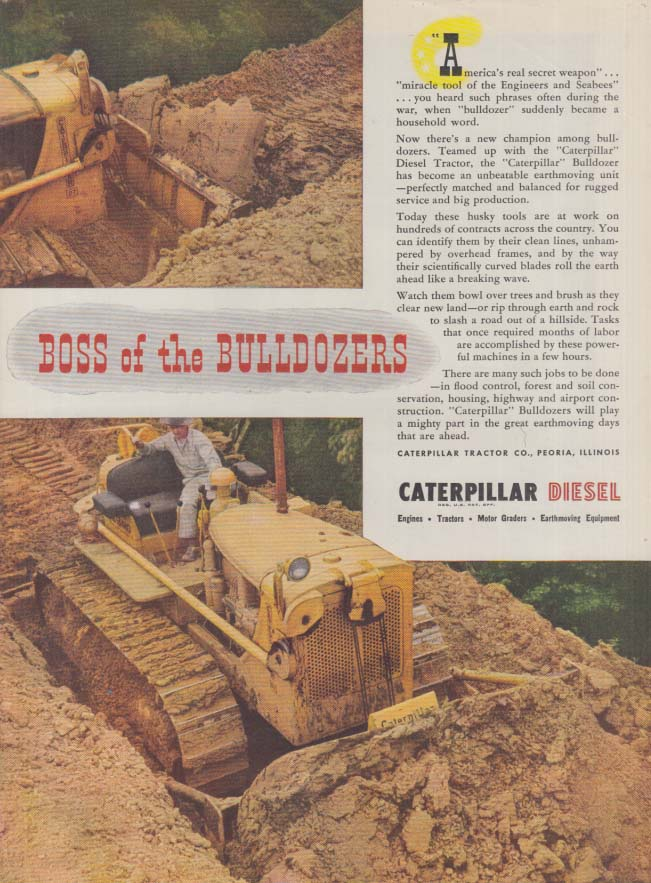 Boss of the Bulldozers - Caterpillar Diesel ad 1946 T