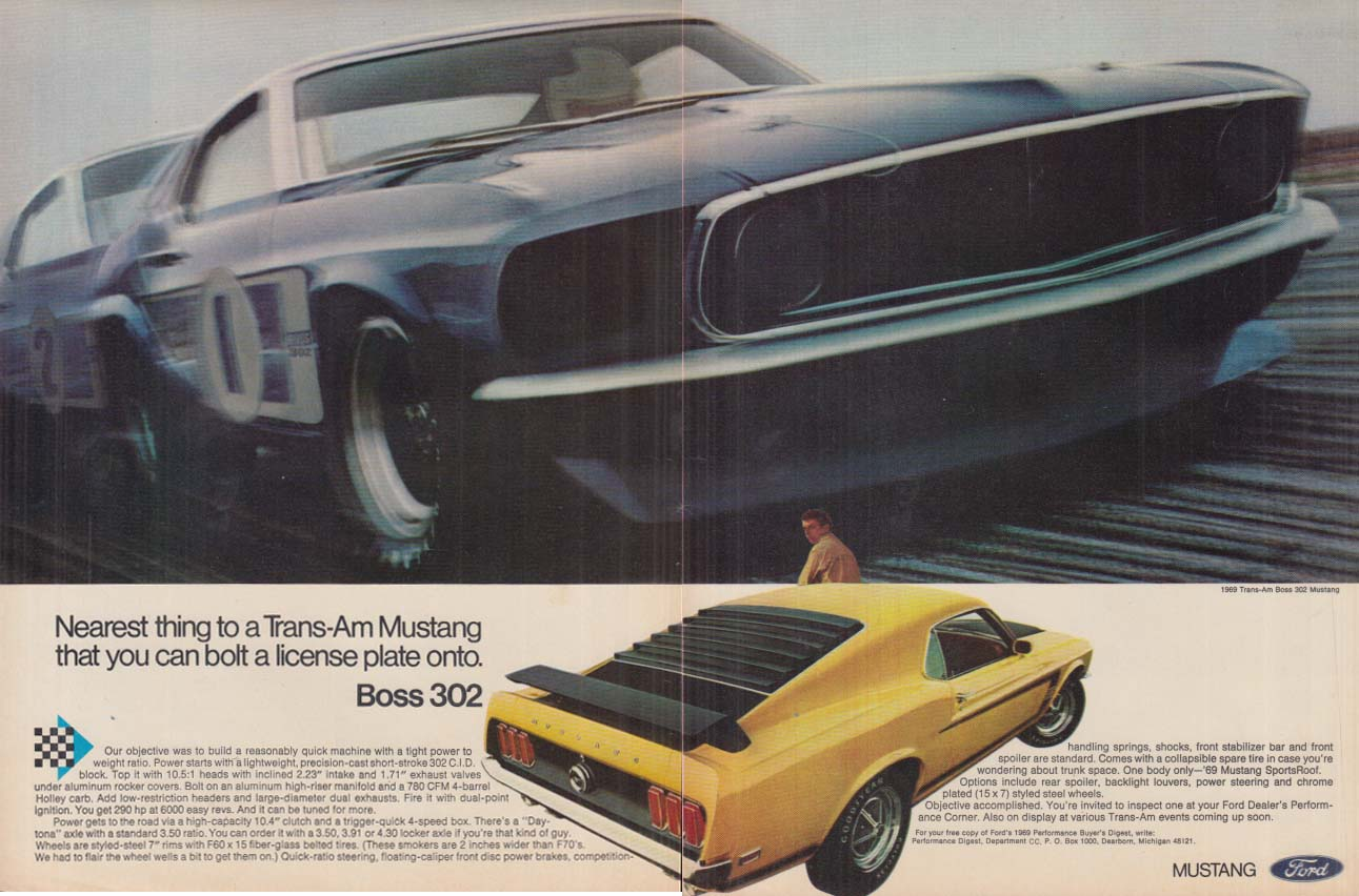 Image for Nearest thing to a Trans-Am Mustang - Mustang Boss 302 ad 1969