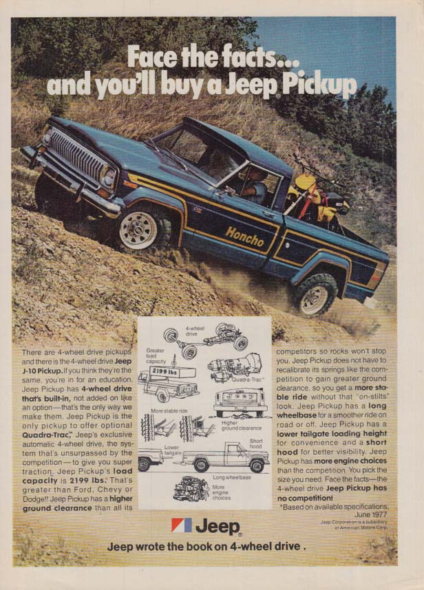 Image for Face the facts and you'll buy a Jeep Honcho Pickup ad 1978 var