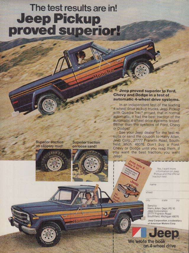 Image for The test results are in! Jeep Honcho Pickup proved superior ad 1979 PS