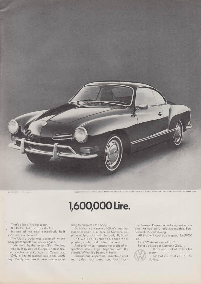 1,600,000 Lire - Volkswagen Karmann Ghia ad 1971 NY