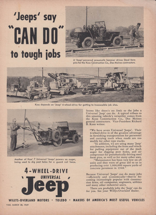 Image for Jeeps say CAN DO to tough jobs Willys-Overland Jeep ad1949 T