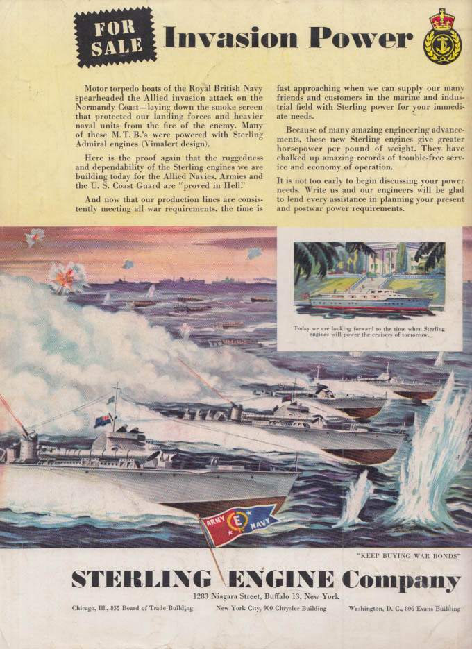 Image for For Sale Invasion Power Royal Navy Motor Torpedo Boats: Sterling Engines ad 1944