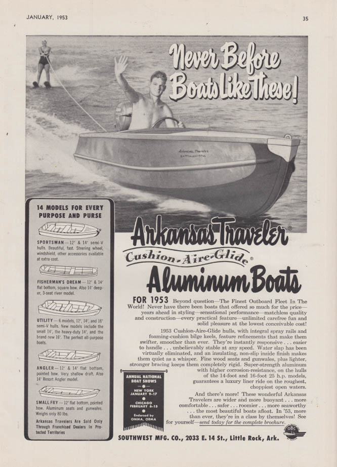 Image for Never before Boats like these! Arkansas Traveler Aluminum Boat ad 1953