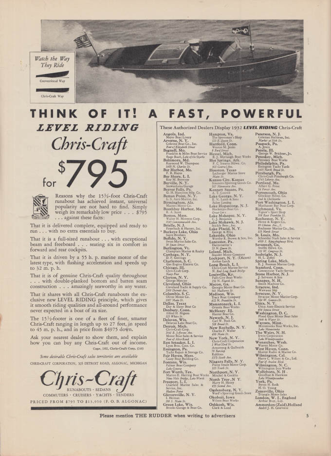 Image for Think of it! A Fast Powerful Level Riding Chris-Craft ad 1932