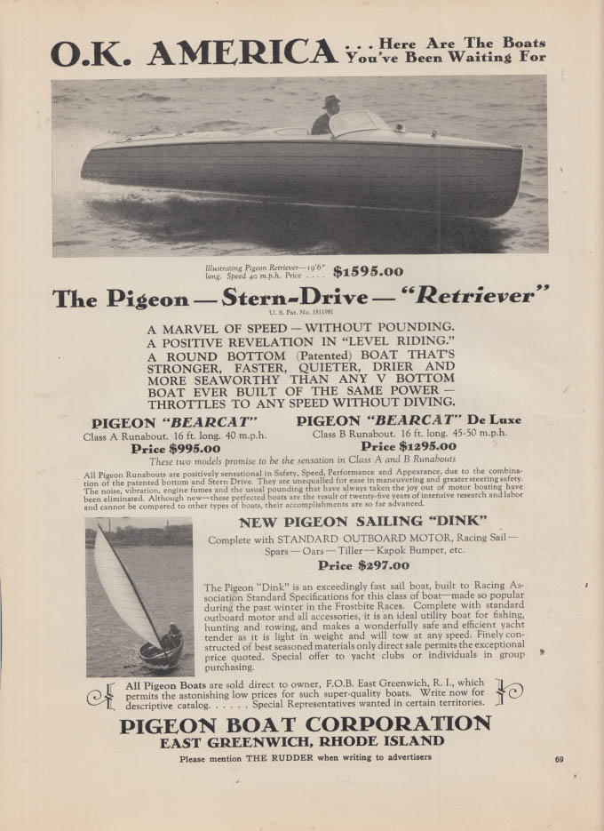 Image for OK America: Pigeon Retriever & Sailing Dink boat ad 1932