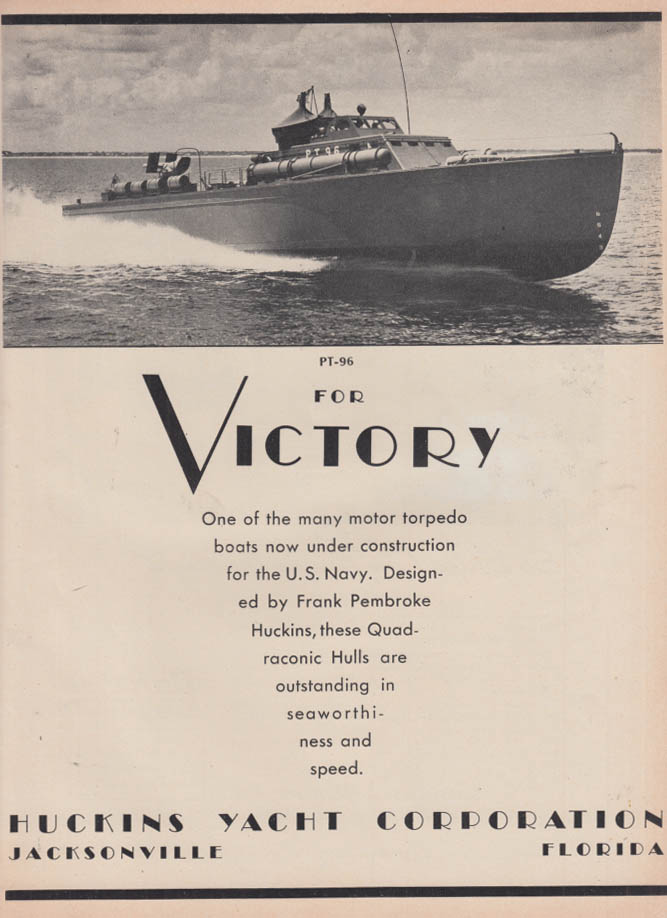 Image for For Victory: Huckins Yacht PT-96 Patrol Torpedo Boat ad 1942