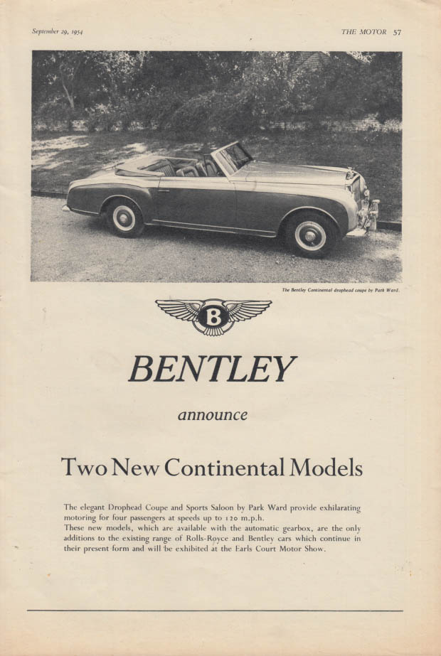 Image for Two new Continental Models: Bentley Drophead Coupe ad 1954 1955