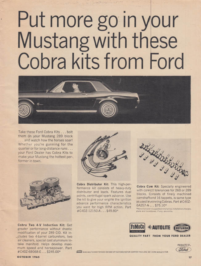 Image for Put more go in your Mustang with these Cobra Kits ad 1965 HR