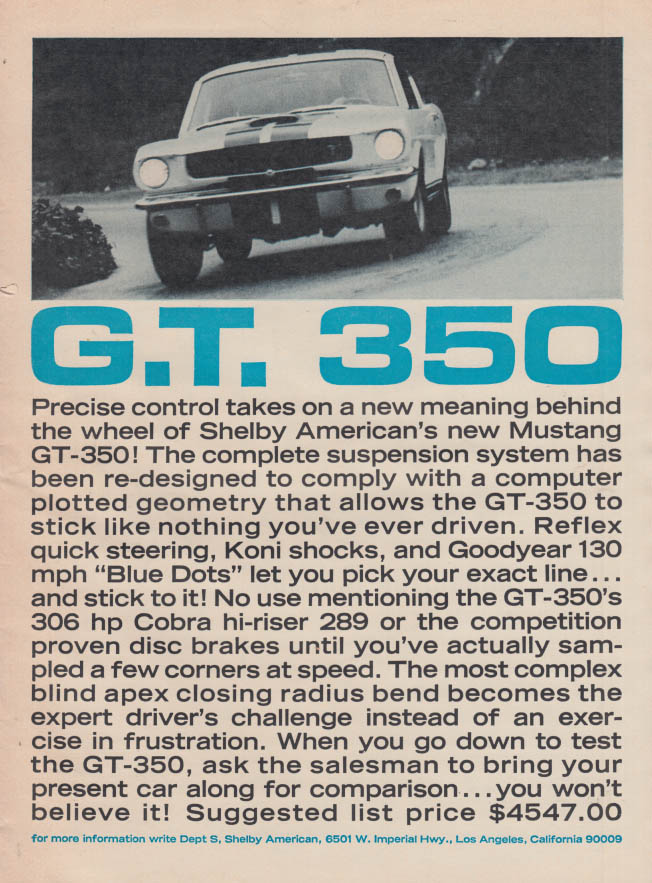 Precise control takes on new meaning Shelby Mustang GT 350 ad 1965 R&T