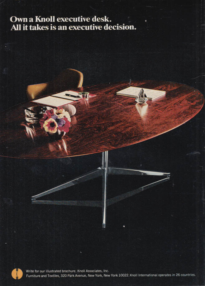 Image for Own a Knoll executive desk All it takes is an executiev decision ad 1967 1968