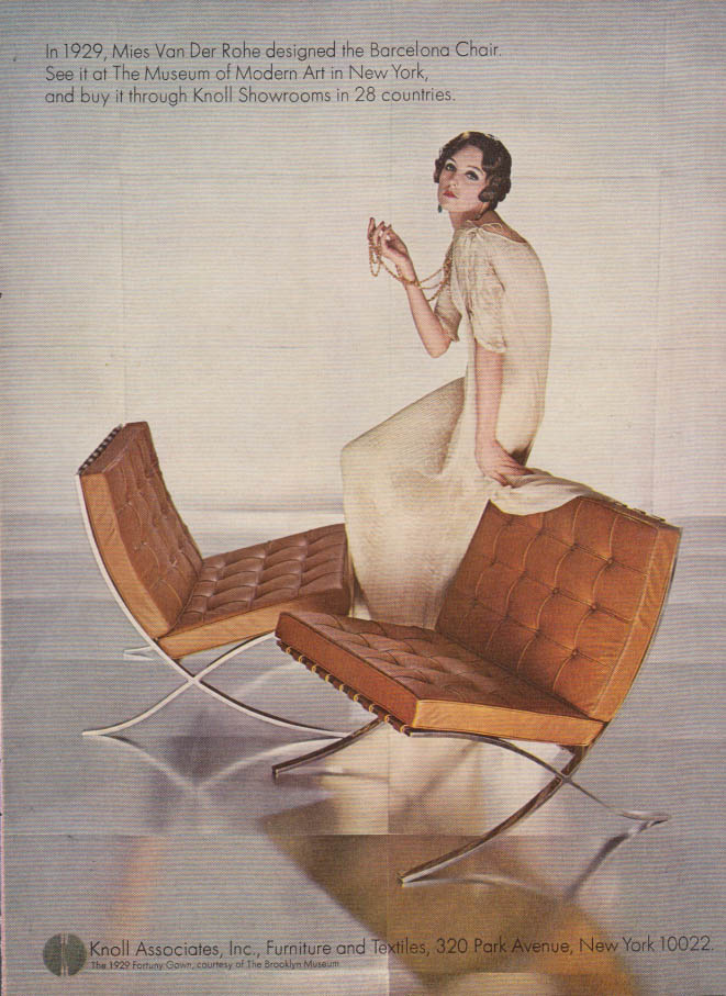 Image for In 1929 Mies van der Rohe designed the Barcelona Chair: Knoll Associates ad 1967