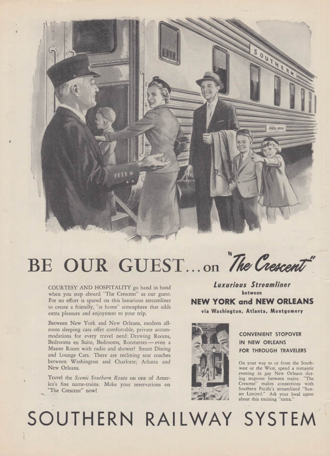 Image for Be Our Guest on the Southern Railway The Crescent Streamliner ad 1957
