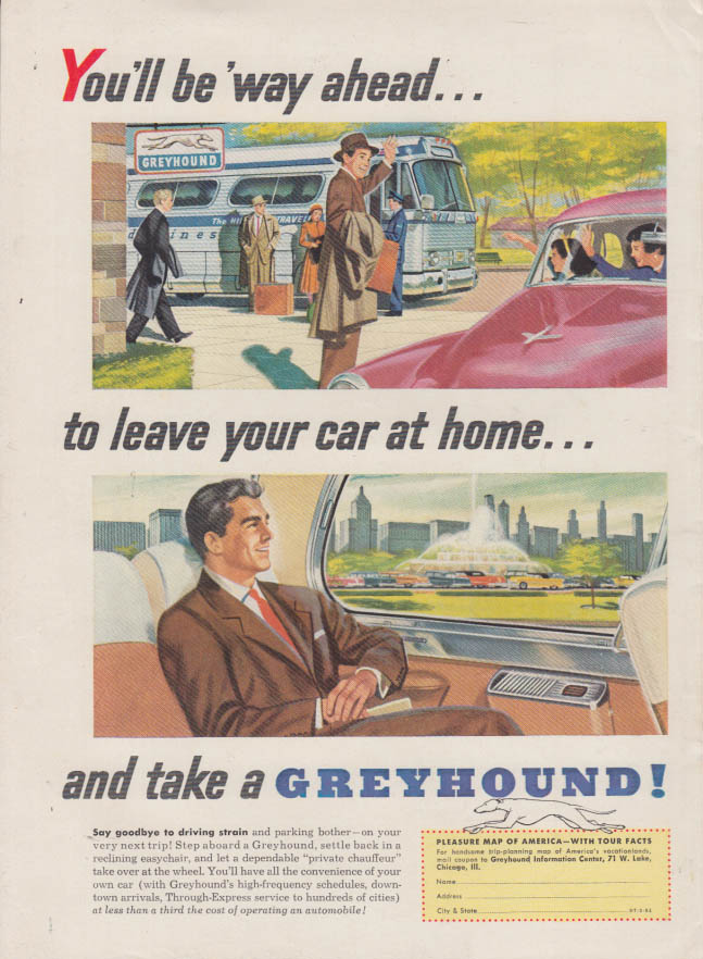 Be way ahead - leave your car at home Greyhound Bus ad 1954