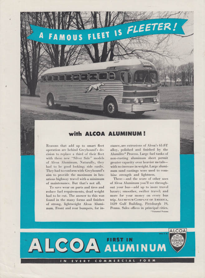 A Famous Fleet is Fleeter Greyhound Bus of Alcoa Aluminum ad 1948