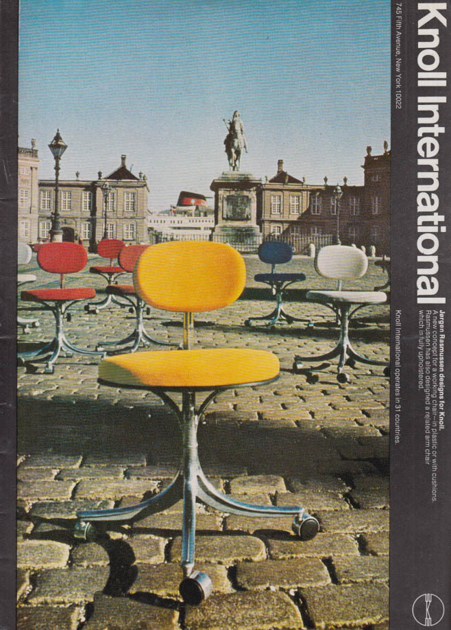Image for Jorgen Rasmussen working chair designed for Knoll Associates ad 1970 NY
