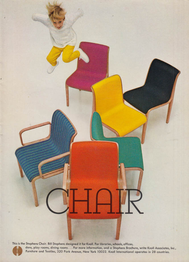 Image for This is the Stephens Chair for libraries school offices Knoll Associates ad 1967