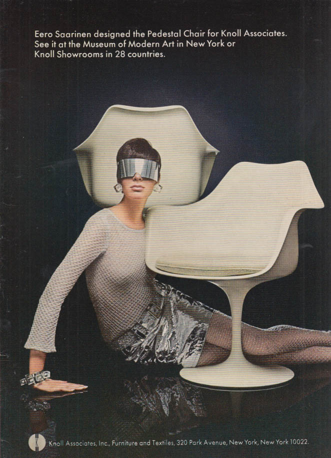 Image for Eero Saarinen designed the pedestal chair for Knoll Associates ad 1967 NY