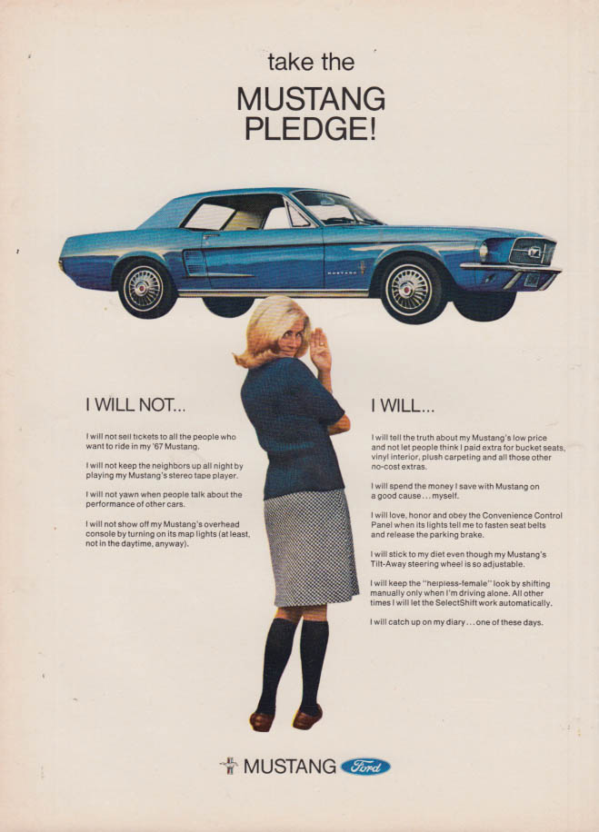 Image for Take the Mustang Pledge! I Will Not - I Will ad 1967 NY