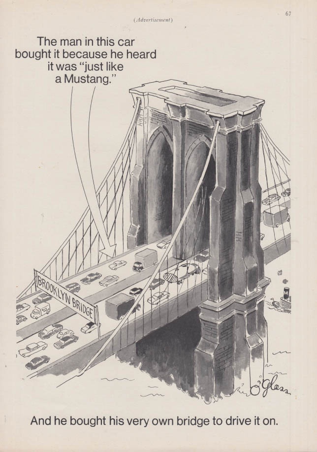 Image for The man in this car heard it was just like a Mustang ad 967 Brooklyn Bridge NY