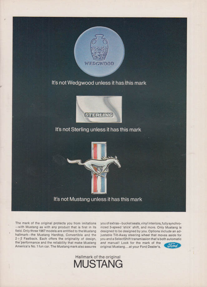 Image for Not Wedgwood, not Sterling, Not Mustang unless it has this mark ad 1967 NY