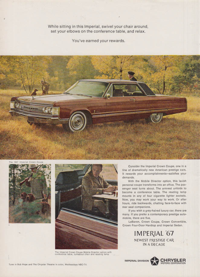 Image for You've earned your rewards Imperial crown Coupe by Chrysler ad 1967 NY