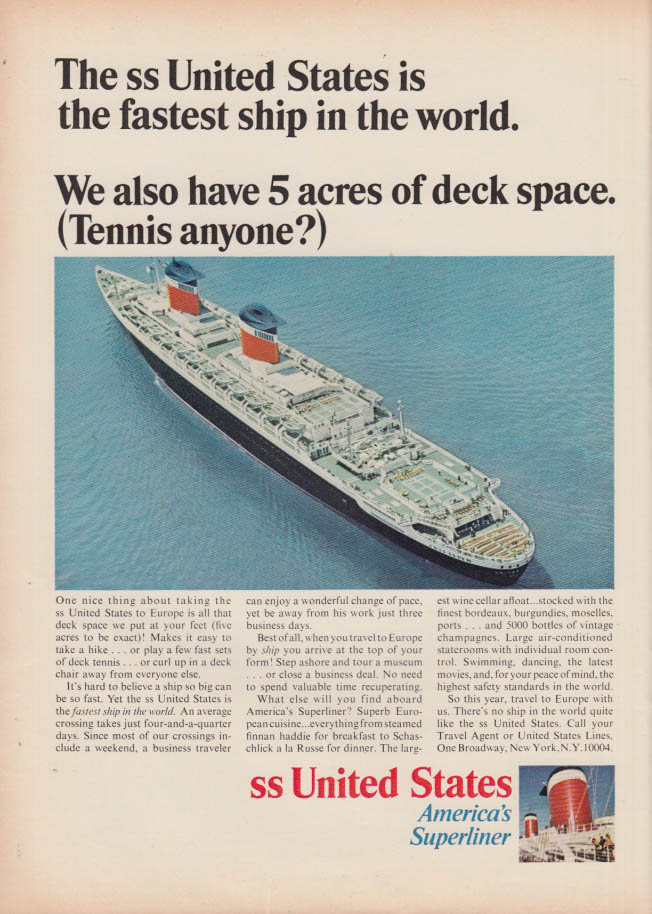 Image for 5 acres of deck space United States Lines S S United States ad 1966 NY
