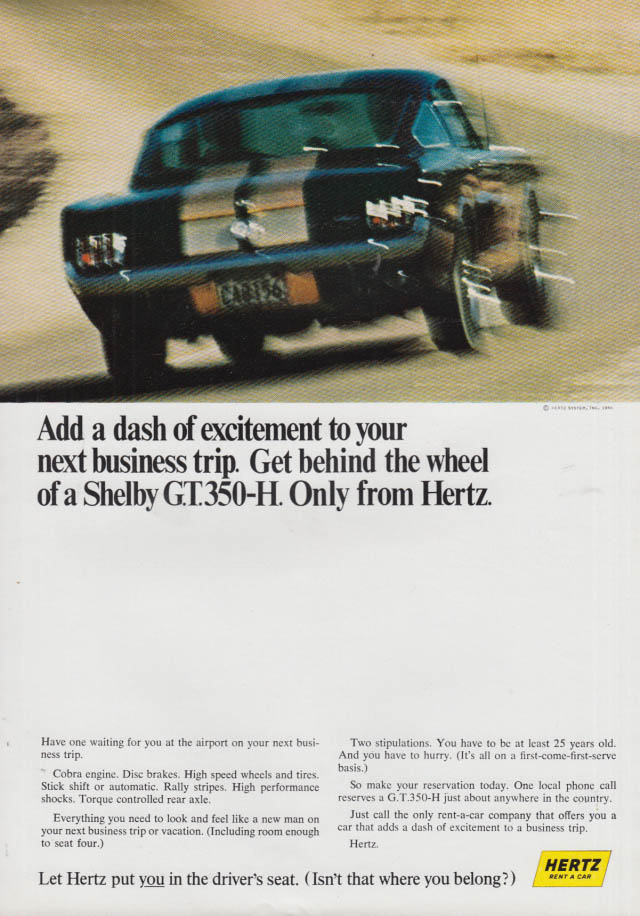 Image for Add a dash of excitement to your next business trip Hertz Shelby GT-350H ad 1966