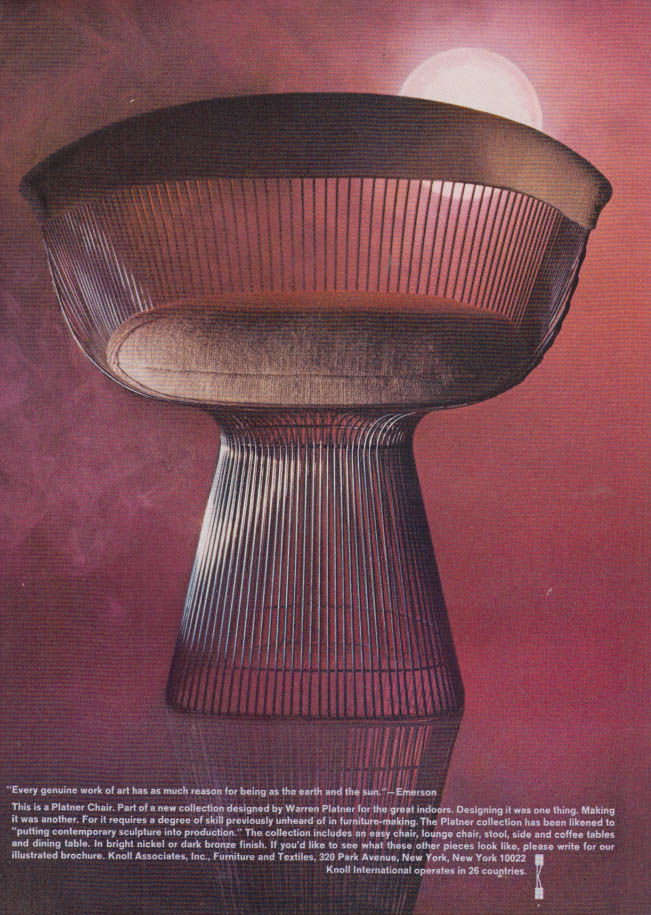 Image for This is the Platner chair designed by Warren Platner - Knoll Associates ad 1966