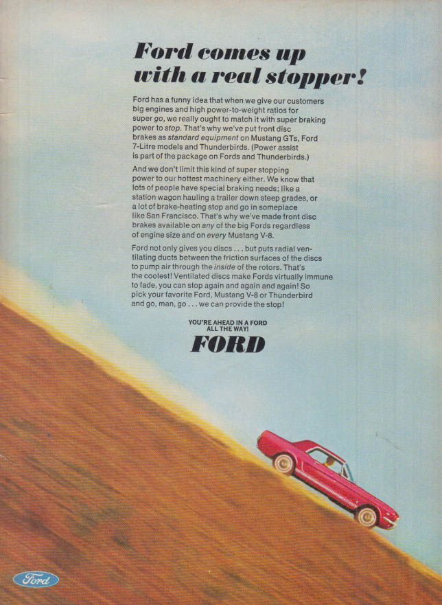 Image for Ford comes up with a real stopper! Ford Mustang disc brakes ad 1966