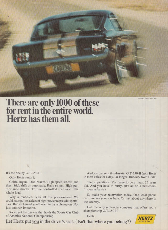 Image for There are only 1000 for rent in the entire world Hertz Shelby GT-350H ad 1966