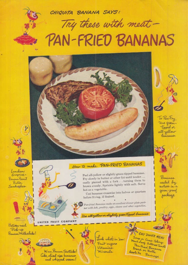 Image for Chiquita Banana says Try these with meat - Pan-Fried Bananas ad 1949 GH