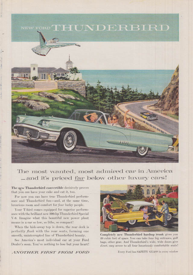 Image for Most wanted most admired car in America Ford Thunderbird Convertible ad 1958 SI