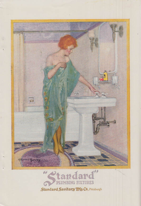 Image for Standard Plumbing Fixtures ad ca 1920 redhead in dressing gown in bathroom