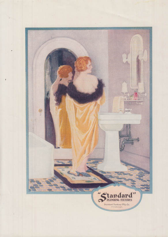 Image for Standard Plumbing Fixtures ad ca 1920 redhead removes silk dressing gown in bath