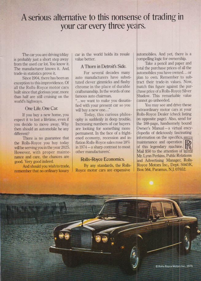 Image for Serious alternative to trading your car every three years Rolls-Royce ad 1976 NY