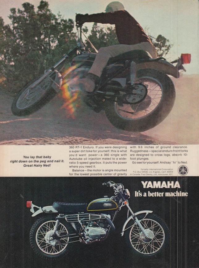 Image for Lay that baby down & nail it Great Hariy Ned! Yamaha 360 RT-1 motorcycle ad 1970
