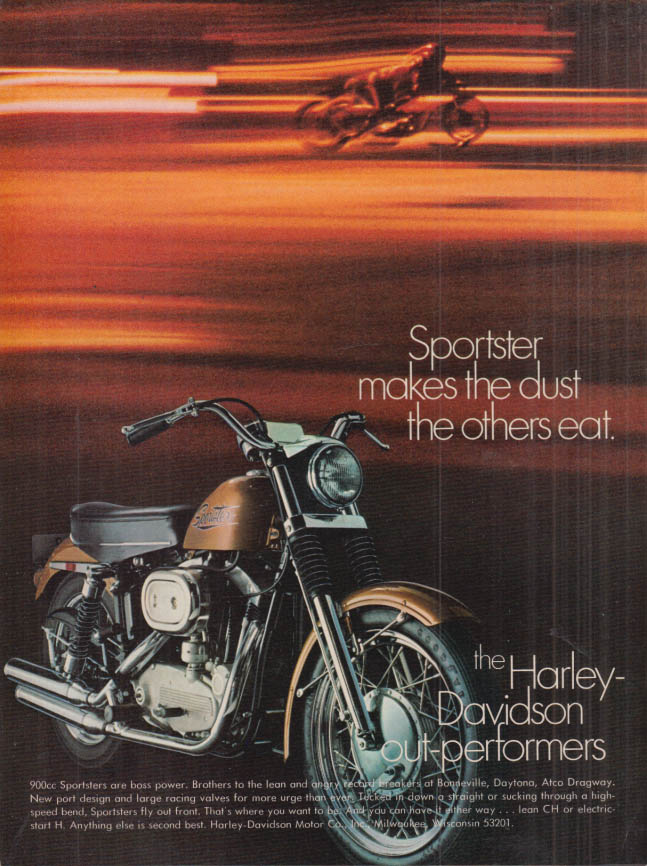 Image for Sportster makes the dust the other eat Harley-Davidson 900cc ad 1970 HR