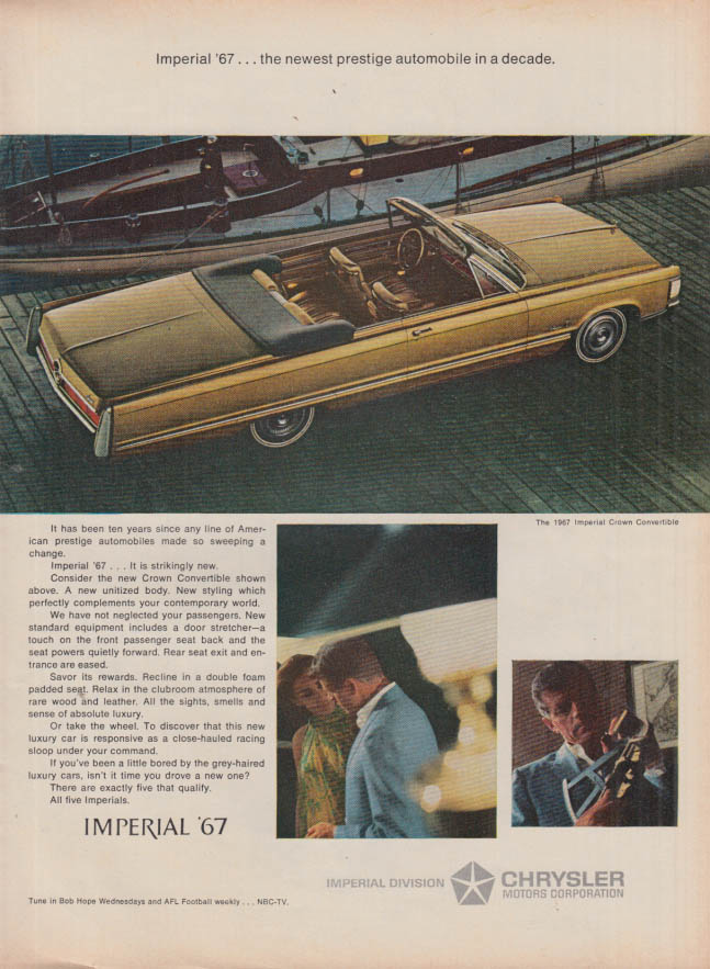 Image for Newest prestige automobile in a decade Imperial Convertible Chrysler ad 1967 T