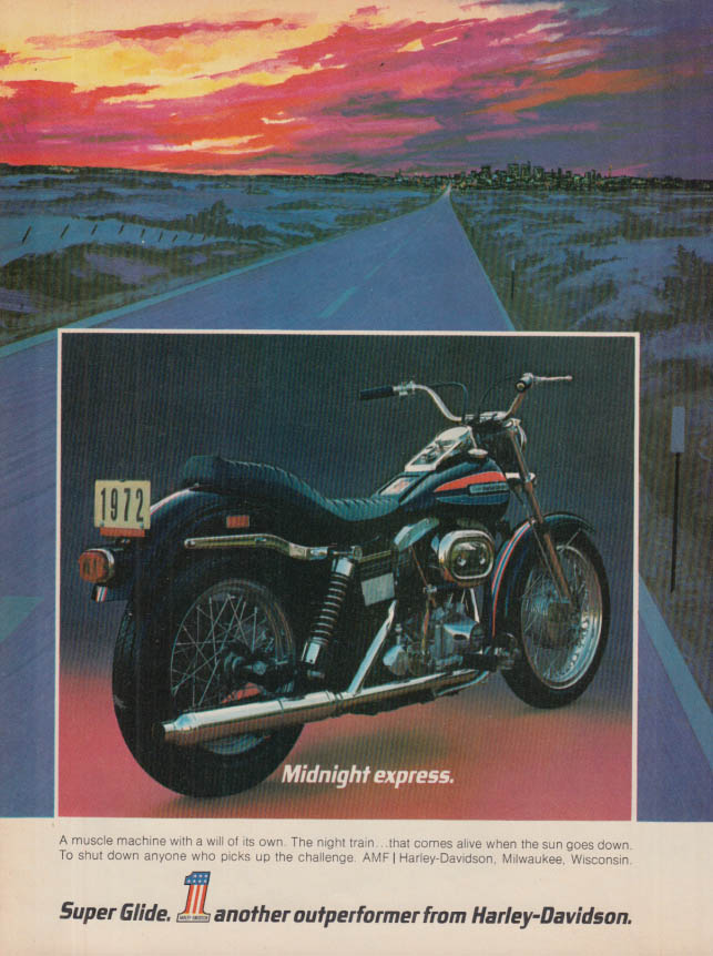 Image for Midnight express - Harley-Davidson Super Glide Motorcycle ad 1972 HR
