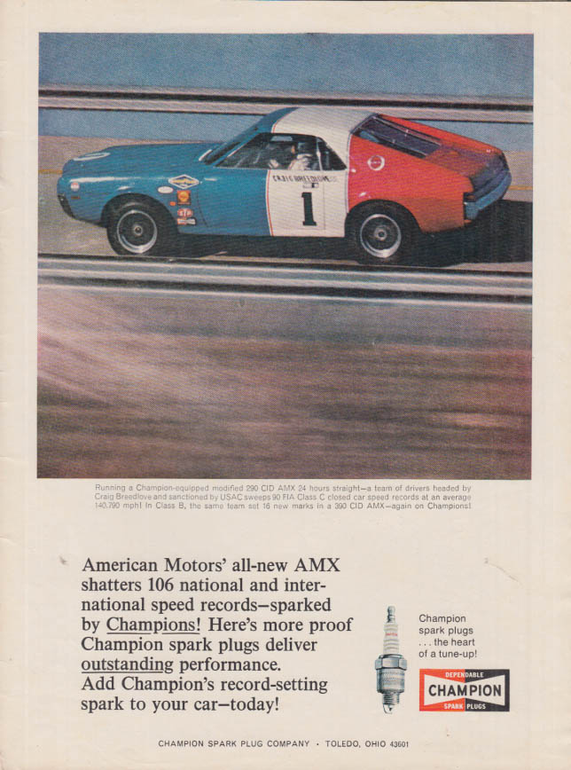 Image for American Motors AMX shatters 106 speed records Champion Spark Plugs ad 1968