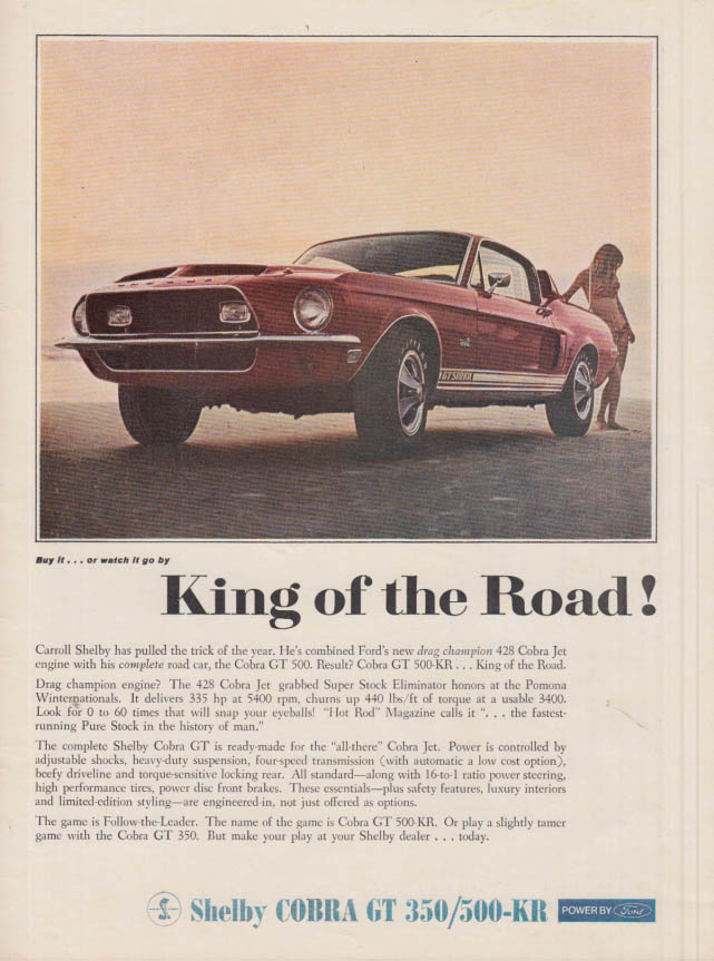 Image for King of the Road! Shelby Cobra GT 350 / 500 KR ad 1968 MT